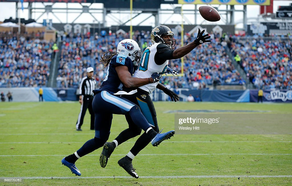 Michael Griffin #33 of the Tennessee Titans defends against Julius Thomas #80 of the Jacksonville Jaguars during the game at Nissan Stadium on December 6, 2015 in Nashville, Tennessee.