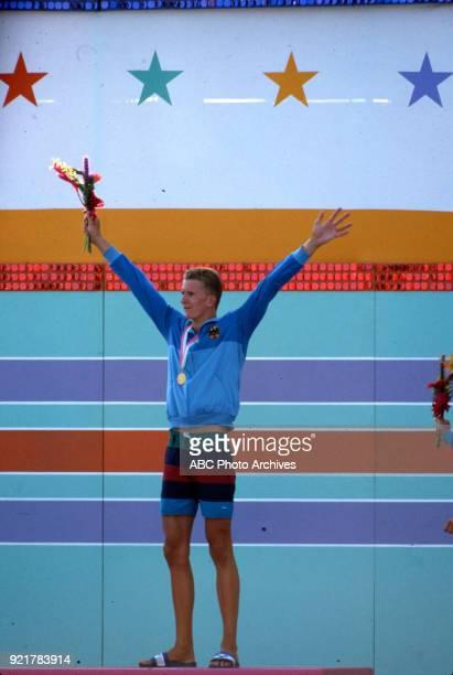 Michael Gross Men's swimming 200 metre freestyle medal ceremony McDonald's Olympic Swim Stadium at the 1984 Summer Olympics July 29 1984