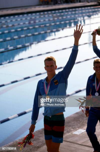 Michael Gross Mike Heath Men's swimming 200 metre freestyle medal ceremony McDonald's Olympic Swim Stadium at the 1984 Summer Olympics July 29 1984