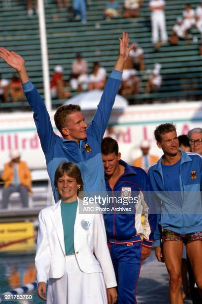 Michael Gross Mike Heath Thomas Fahrner Men's swimming 200 metre freestyle medal ceremony McDonald's Olympic Swim Stadium at the 1984 Summer Olympics...