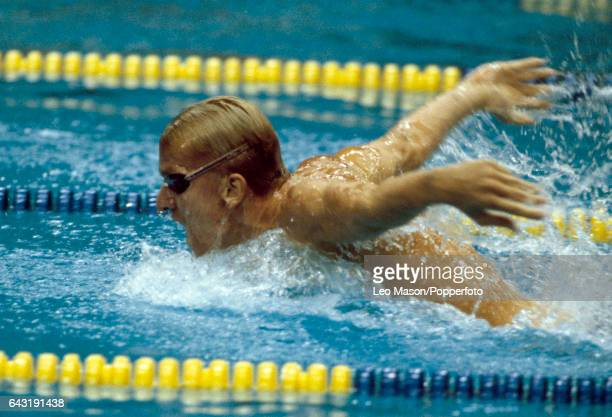 Michael Gross of Germany enroute to winning the gold medal in the men's 200 metres butterfly event during the Summer Olympic Games in Seoul South...