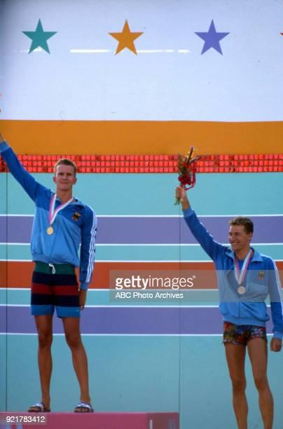 Michael Gross Thomas Fahrner Men's swimming 200 metre freestyle medal ceremony McDonald's Olympic Swim Stadium at the 1984 Summer Olympics July 29...