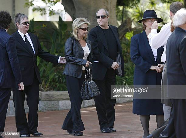 Michael Gudinski and wife during Belinda Emmett Funeral Service at Mary Immaculate Church in Sydney New South Wales Australia