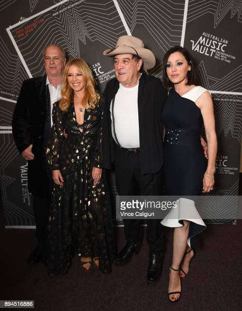 Michael Gudinski Kylie Minogue Ian 'Molly' Meldrum and Tina Arena attend the VIP Launch of the Australian Music Vault at the Arts Centre Melbourne on...