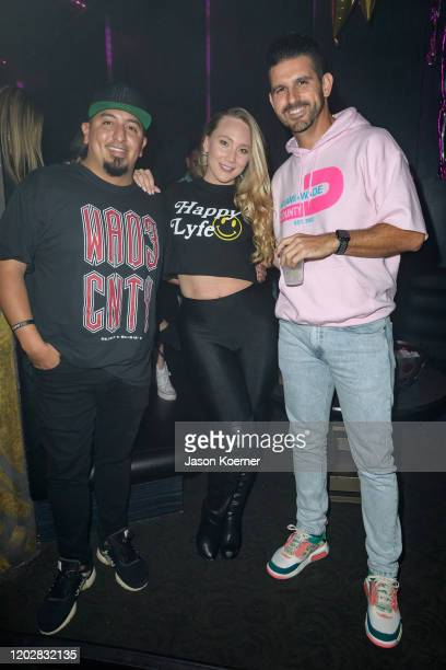 Michael Guerrero AJ Applegate and Alexander Tamargo is seen at LYFE Brand Celebrates Dwayne Wade Jersey Retirement at HYDE American Airlines Arena on...