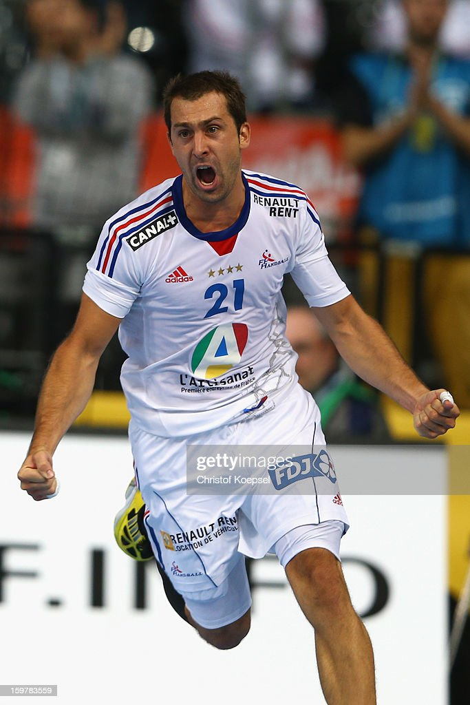 Michael Guigou of France celebrates a goal during the round of sixteen match between Iceland and France at Palau Sant Jordi on January 20, 2013 in Barcelona, Spain.