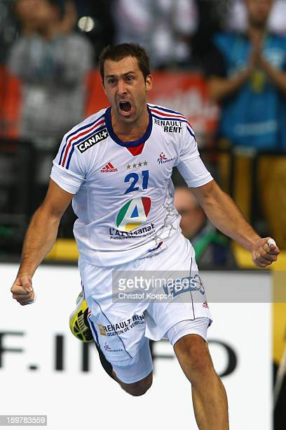 Michael Guigou of France celebrates a goal during the round of sixteen match between Iceland and France at Palau Sant Jordi on January 20, 2013 in...
