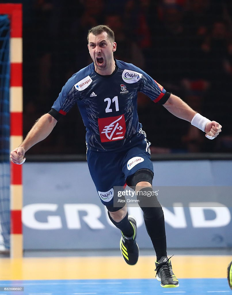 Michael Guigou of France celebrates scoring a goal during the 25th IHF Men's World Championship 2017 Quarter Final match between France and Sweden at Stade Pierre Mauroy on January 24, 2017 in Lille, France.