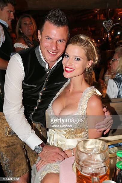 Michael Gumpp and his partner AnnaMaria Kagerer attends the Almauftrieb during the Oktoberfest 2015 at Kaeferschaenke beer tent on September 20 2015...