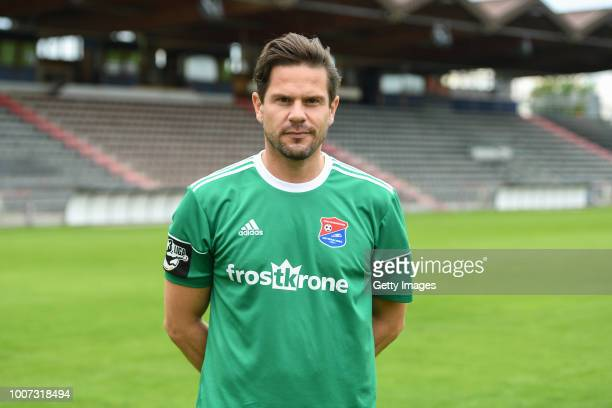 Michael Gurski of SpVgg Unterhaching poses during the team presentation at Alpenbauer Sportpark on July 4 2018 in Unterhaching Germany