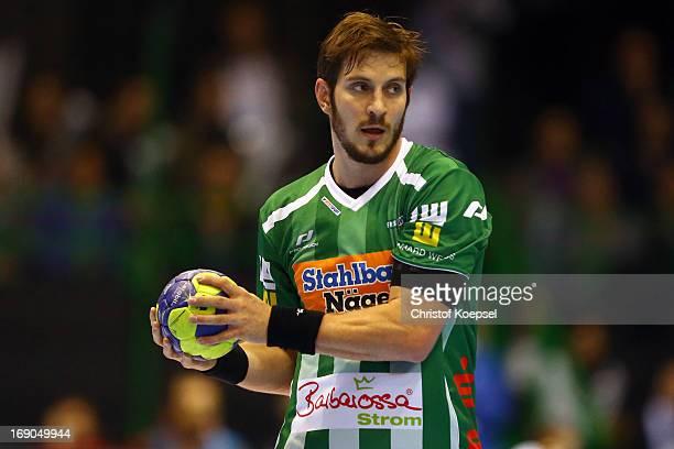 Michael Haass of Goeppingen passes the ball during the EHF Cup Semi Final match between Tvis Holstebro and Frisch Auf Goeppingen at Palais des Sports...