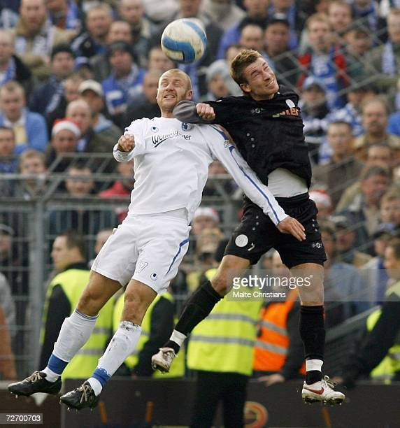 Michael Habryka of Magdeburg competes with Marvin Braun of Pauli during the Third League match between FC St.Pauli and 1.FC Magdeburg at the...