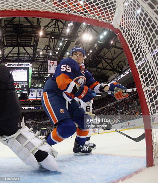 Michael Haley of the New York Islanders skates against the Pittsburgh Penguins at the Nassau Coliseum on April 8 2011 in Uniondale New York