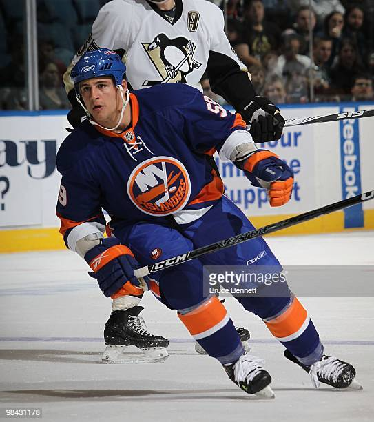 Michael Haley of the New York Islanders skates against the Pittsburgh Penguins at the Nassau Coliseum on April 11 2010 in Uniondale New York