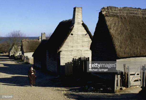 Michael Hall who portrays Captain Myles Standish walks up the main street of Plimoth Plantation November 25 2003 at Plimoth Plantation in Plymouth...