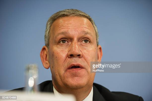 Michael Halstenberg of the HFK lawyers speaks during the press conference of the Alliance Housing Associations on in Berlin Germany The Alliance...