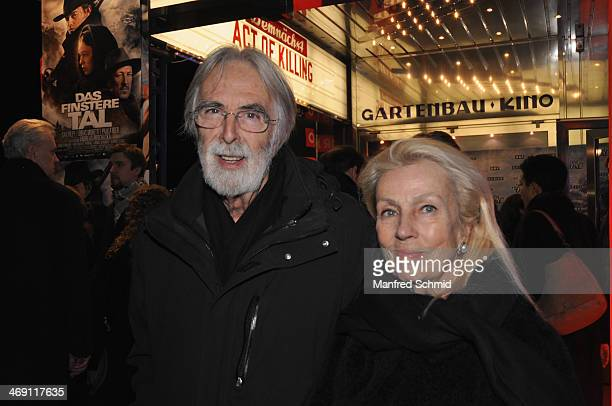 Michael Haneke and Susi Haneke attends the Austrian premiere of 'Das Finstere Tal' at Gartenbau cinema on February 11 2014 in Vienna Austria