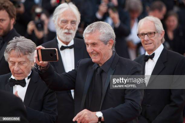 Michael Haneke Claude Lelouch David Lynch Roman Polanski Ken Loach attend the 70th Anniversary of the 70th annual Cannes Film Festival at Palais des...