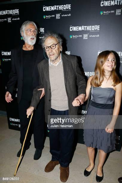 Michael Haneke Jean Louis Trintignant and Fantine Harduin attend Happy End Paris Premiere at la cinematheque on September 18 2017 in Paris France