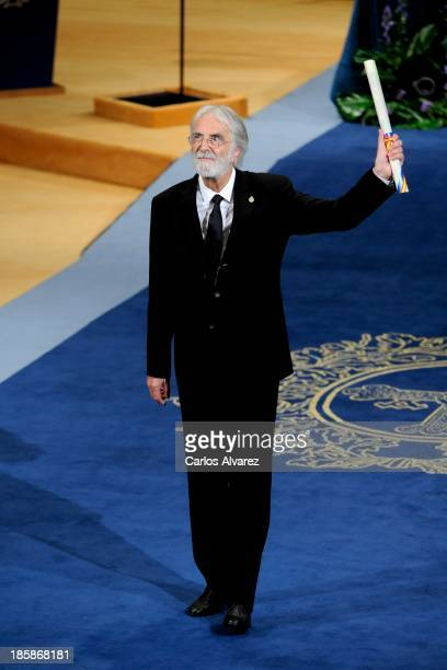 Michael Haneke receives the Prince of Asturias Award for the Arts during the 'Prince of Asturias Awards 2013' ceremony at the Campoamor Theater on...