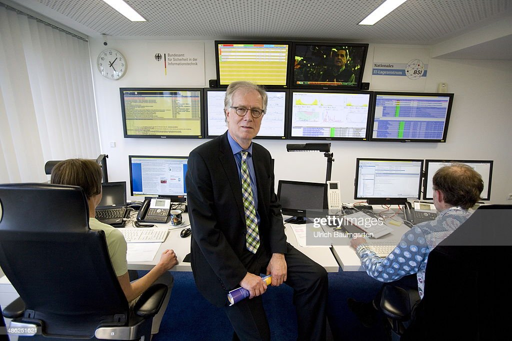 Michael Hange, president of the Federal Office for Information Security (BSI) poses in the situation centre of the BSI on April 23, 2014 in Bonn, Germany. Hange, a mathematician has held the post since 2009.