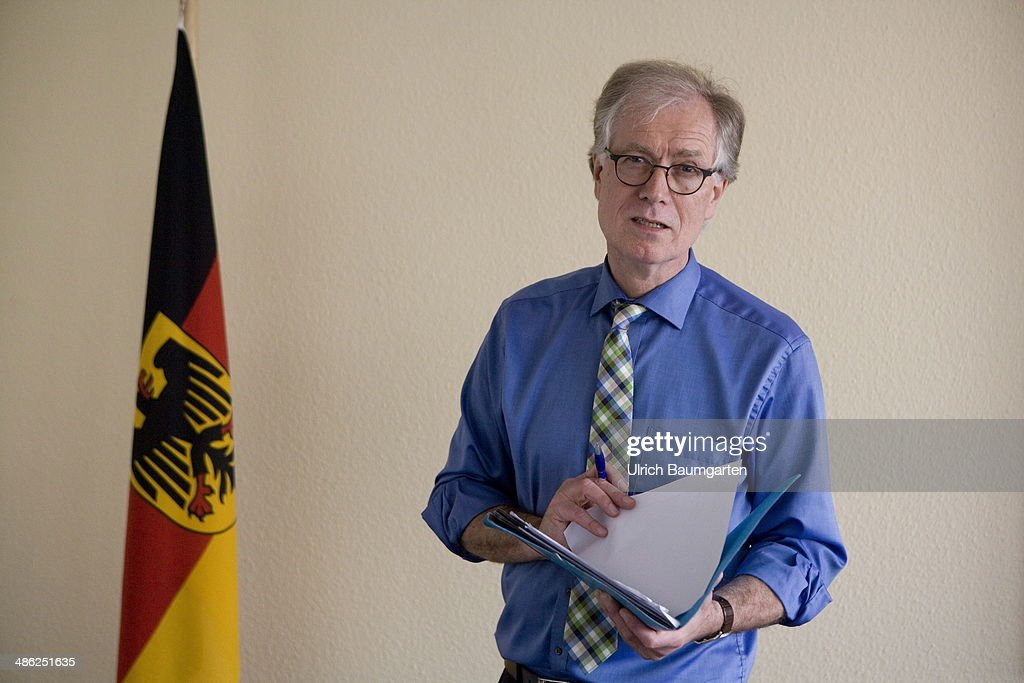 Michael Hange, president of the Federal Office for Information Security (BSI) poses at the BSI on April 23, 2014 in Bonn, Germany. Hange, a mathematician has held the post since 2009.