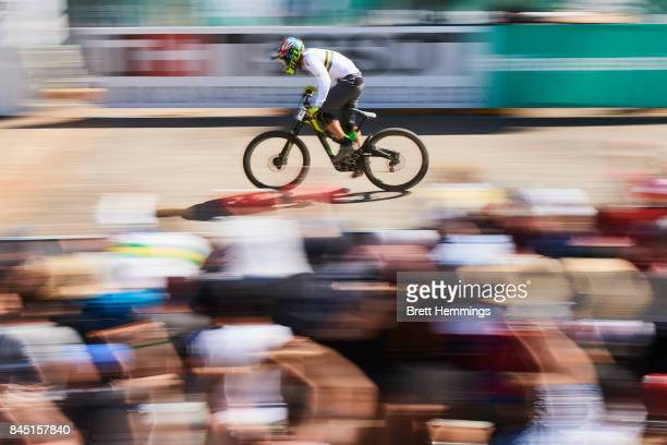 Michael Hannah of Australia rides towards the finish line to place 2nd in the Elite Mens Downhill Championship during the 2017 Mountain Bike World...