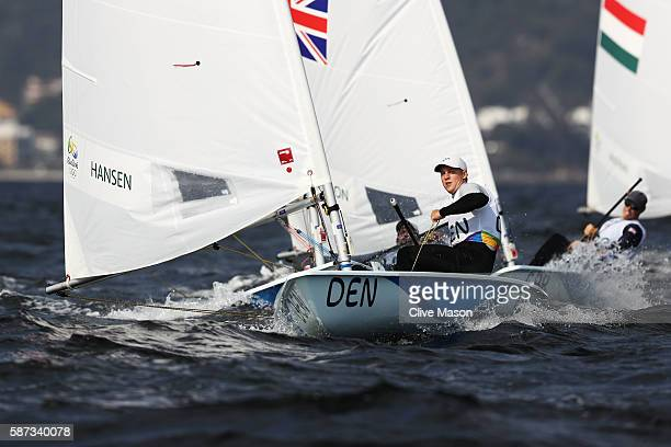Michael Hansen of Denmark competes during the Men's Laser Race 1 on Day 3 of the Rio 2016 Olympic Games at Marina da Gloria on August 9 2016 in Rio...