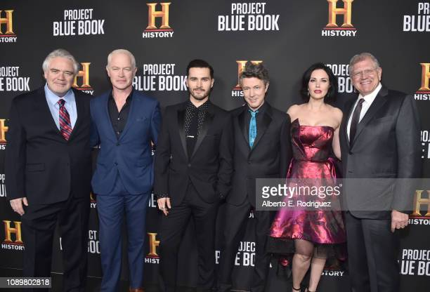 Michael Harney Neal McDonough Michael Malarkey Aidan Gillen Laura Mennell and Robert Zemeckis attend the premiere of History Channel's Project Blue...