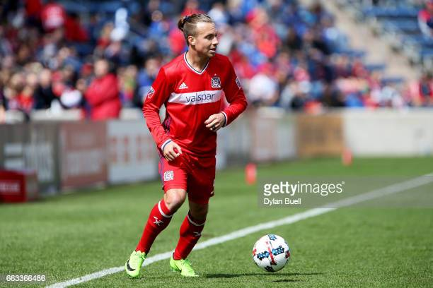 Michael Harrington of Chicago Fire dribbles the ball in the first half against the Montreal Impact during an MLS match at Toyota Park on April 1 2017...