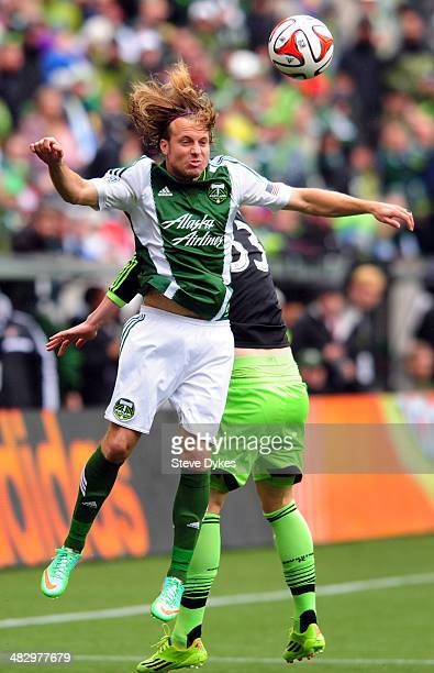 Michael Harrington of Portland Timbers goes up for a ball during the first half of the game against the Seattle Sounders FC at Providence Park on...