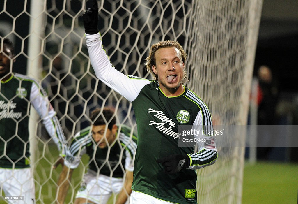 Michael Harrington #5 of the Portland Timbers celebrates after scoring a goal past during the second half of the game against AIK at Jeld-Wen Field on February 23, 2013 in Portland, Oregon. The game ended in a 1-1 draw.