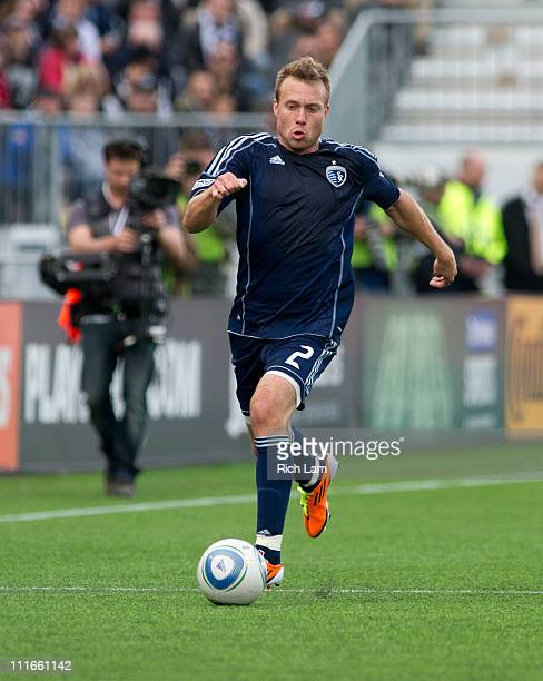 Michael Harrington of the Sporting Kansas City runs with the ball during MLS action against the Vancouver Whitecaps on April 2 2011 at Empire Field...