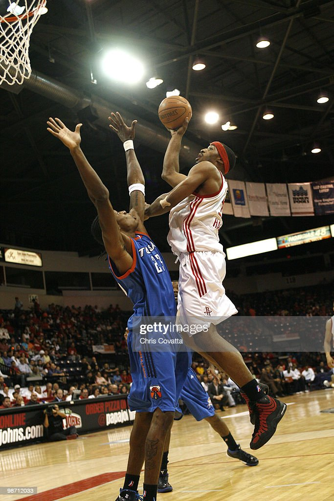 Michael Harris #33 of the Rio Grande Valley Vipers shoots over Larry Owens #23 of the Tulsa 66ers in Game Two of the 2010 NBA D-League Finals at the State Farm Arena on April 27, 2010 in Hidalgo, Texas.
