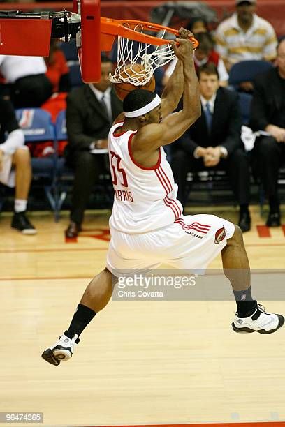 Michael Harris of the Rio Grande Valley Vipers slam dunks against the Reno Bighorns on February 6 2010 at the State Farm Arena in Hidalgo Texas NOTE...