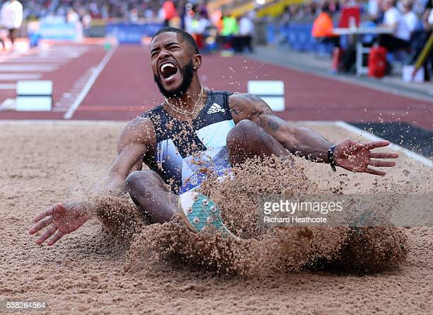 Michael Hartfield of the USA competes in the Men's Long Jump during the IAAF Diamond League meeting at Alexander Stadium on June 5 2016 in Birmingham...