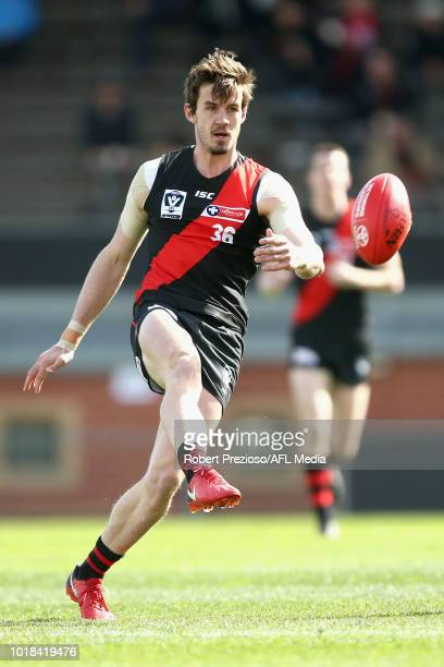 William Hayes of Footscray kicks during the round 20 VFL match between Essendon and Footscray at Windy Hill on August 18 2018 in Melbourne Australia
