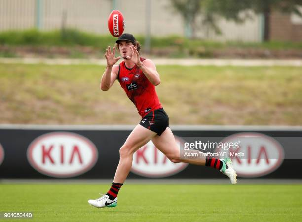 Michael Hartley of the Bombers in action during the Essendon Bombers training session at The Hangar on January 12 2018 in Melbourne Australia