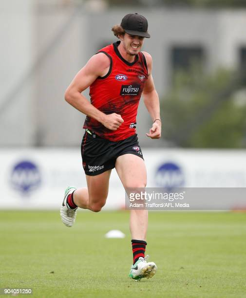 Michael Hartley of the Bombers runs during the Essendon Bombers training session at The Hangar on January 12 2018 in Melbourne Australia