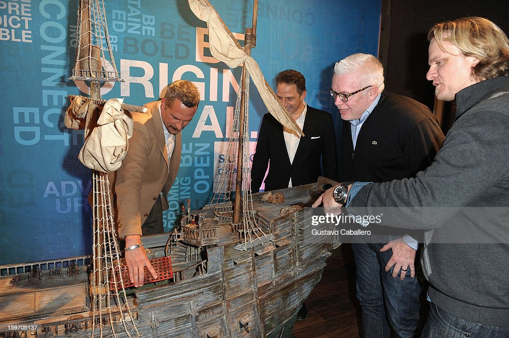 Michael Haussman, Christopher Gallo, Stephan Talty and Fritz Hanselmann observe a replica of Henry Morgan's flagship, The Satisfaction, following an exclusive screening of The Unsinkable Henry Morgan at Sundance Film Festival on January 18, 2013 in Park City, Utah.