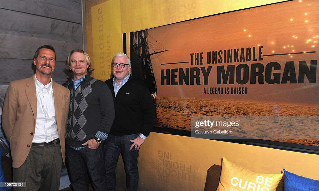Michael Haussman, Fritz Hanselmann and Stephan Talty pose following an exclusive screening of The Unsinkable Henry Morgan at Sundance Film Festival on January 18, 2013 in Park City, Utah. (Photo by Gustavo Caballero/Getty Images for Captain Morgan) on January 18, 2013 in Park City, Utah.
