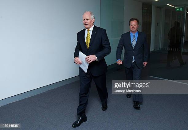 Michael Hawker and New CEO of Australian Rugby Unio Bill Pulver arrive for an ARU press conference at ARU Headquarters on January 9 2013 in Sydney...