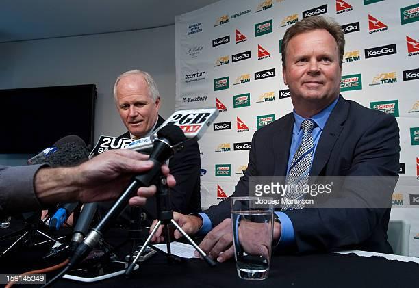 Michael Hawker and New CEO of Australian Rugby Unio Bill Pulver sit down during an ARU press conference at ARU Headquarters on January 9 2013 in...