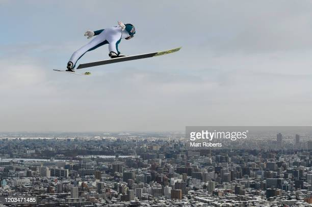 Michael Hayboeck of Austria competes on day two of the FIS Ski Jumping World Cup Sapporo at Okurayama Jump Stadium on February 02, 2020 in Sapporo,...
