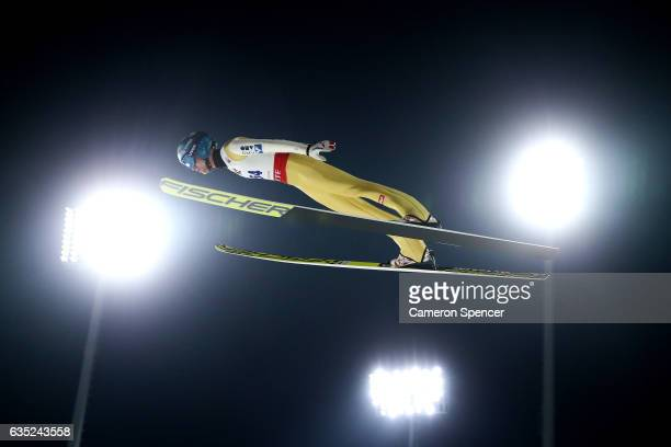 Michael Hayboeck of Austria jumps during trainining for the 2017 FIS Ski Jumping World Cup test event For PyeongChang 2018 at Alpensia Ski Jumping...