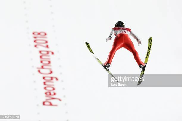 Michael Hayboeck of Austria makes a jump during the Ski Jumping Men's Large Hill on day eight of the PyeongChang 2018 Winter Olympic Games at...
