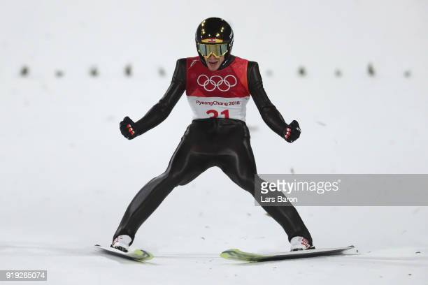 Michael Hayboeck of Austria reacts at the finish after he makes a jump during the Ski Jumping - Men's Large Hill on day eight of the PyeongChang 2018...