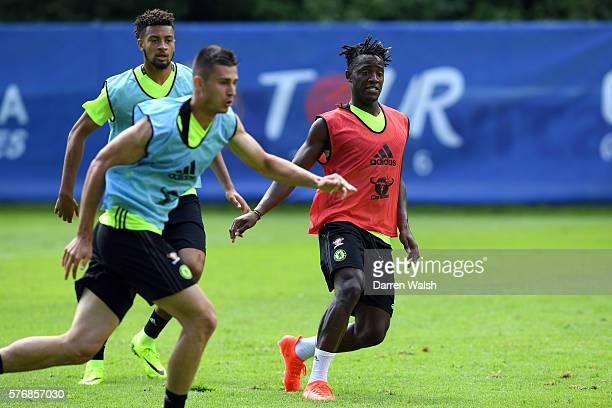 Michael Hector Michy Batshuayi during a Chelsea training session at Waldarena on July 18 2016 in Velden Austria