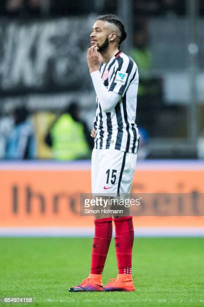 Michael Hector of Frankfurt reacts during the Bundesliga match between Eintracht Frankfurt and Hamburger SV at CommerzbankArena on March 18 2017 in...