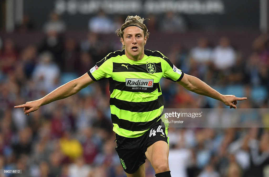 Michael Hefele of Huddersfield Town celebrates scoring his sides first goal during the Sky Bet Championship match between Aston Villa and Huddersfield Town at Villa Park on August 16, 2016 in Birmingham, England.